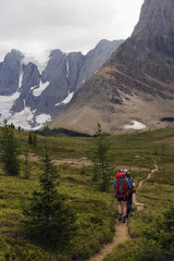 Two backpackers hike towards the towering limestone cliffs and glaciers of the Rockwall Trail, Kootenay National Park.