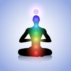 Man with light chakras