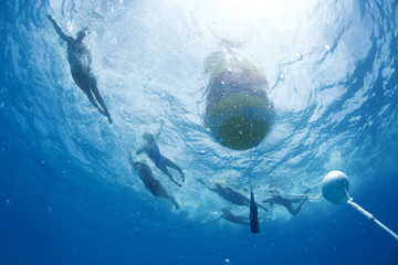 Swimmers round the buoy during the annual Mana Island Ocean swim event off Mana Island, Fiji.