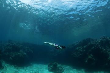Australian Suanne Hunt enjoys a swim in the warm tropical waters in the Yasawas Islands, Fiji.