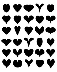 Black silhouettes of heart on the white background