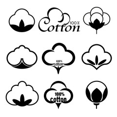 Set of icons for creating cotton trademark and brand