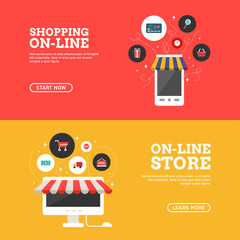 Shopping On-line. Online Store. Set of Flat Design Concepts for Web Banners and Promotional Materials