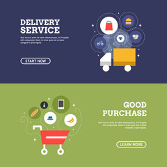 Good Purchase. Delivery Service. Set of Flat Design Concepts for Web Banners and Promotional Materials