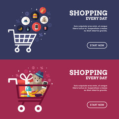Shopping Everyday. Shopping Cart with Goods. Set of Flat Design Concepts for Web Banners and Promotional Materials