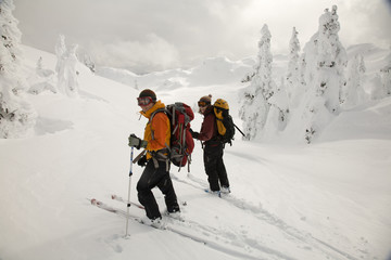 Two female backcountry skiers surveys the slope before skiing down.