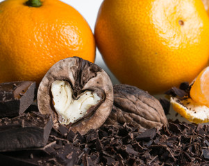 peanuts in the shape of a heart with chocolate and citrus