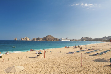 A volleyball court and sandy beach near Cabos San Lucas, Mexico.