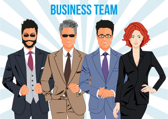Business team design concept - team of business professionals working together and helping each other in times of prosperity or crisis. Together they are able to achieve more ambitious goals