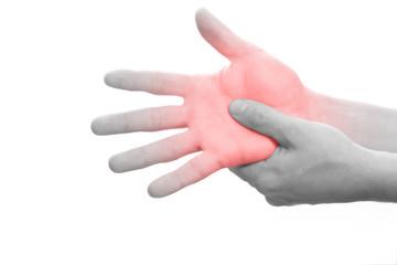 Schmerzen in der Handfläche, Schwarzweiß mit Markierung rot