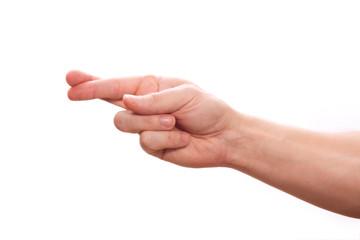 gekreuzter Zeigefinger mit Mittelfinger