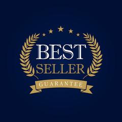 """Best seller logo. Gold laurel wreath emblem award vintage round badge with gold ribbon """"Bestseller"""""""