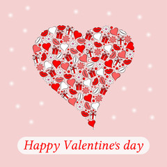 Postcard to the day of Valentine heart on a pink background. Vector.