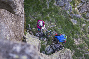 Climbers getting ready for a multi-pitch route at Serra da Estrela, Portugal