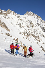 A group of four backcountry skiers and a dog in the Beehive Basin near Big Sky, Montana.