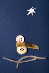 Merry Christmas Patchwork Greeting Card with Snowman