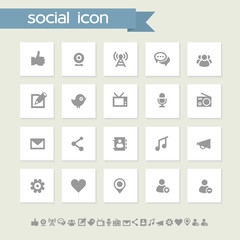 Social icon set. Simple flat buttons