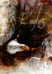 painting  eagle on an abstract background, USA Symbols Freedom, with text