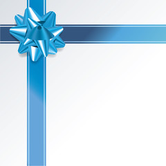 Gift Background with Blue Bow and Ribbon