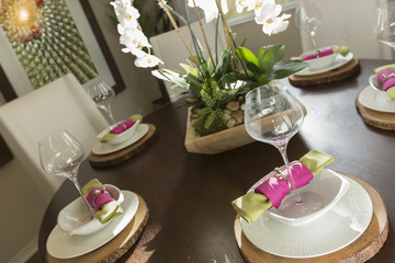 Abstract of Dining Table with Place Settings