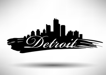 Vector Detroit Skyline Design with Typography