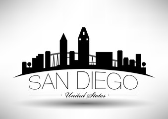 Vector San Diego Skyline Design with Typography
