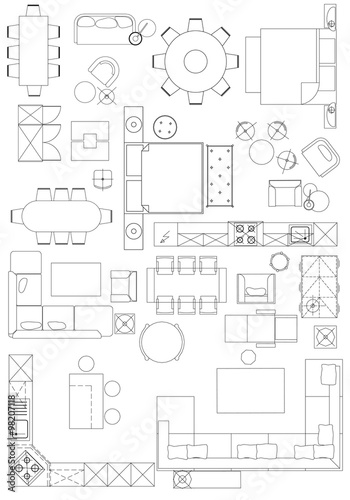 Architecture Design Elements standard furniture symbols used in architecture plans icons set