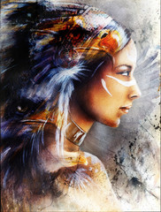 beautiful painting of native american indian woman with eagle, on an abstract textured background.