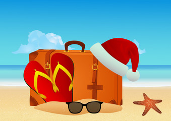 Christmas beach background. Winter holiday vacation concept. EPS10 vector illustration