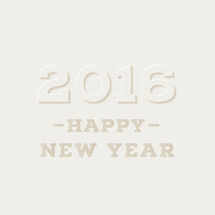 Happy New 2016 Year. Holiday greeting card with lettering composition. Carved paper style. Vector illustration