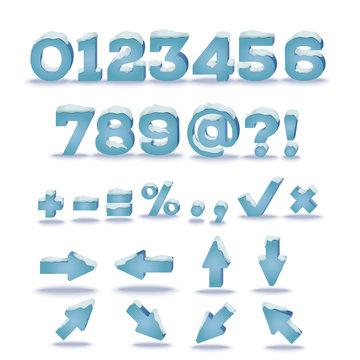 Winter alphabet with snow cap effect. Part 2. Numbers, symbols and arrows. EPS 10 vector illustration, transparent shadow