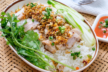 Thailand food, pork with garlic and chilli