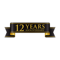 Simple Black Gold Ribbon Anniversary logo 12