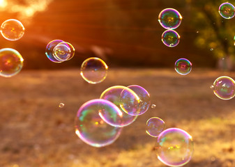 soap bubbles into the sunset , blurred background .
