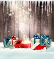 Wall Mural - Christmas holiday background with presents and magic box. Vector