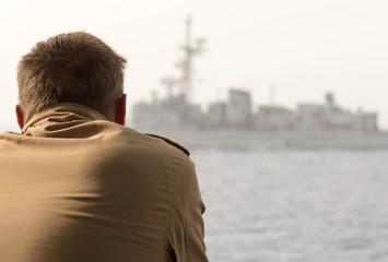 Kaleu mit Schlachtschiff