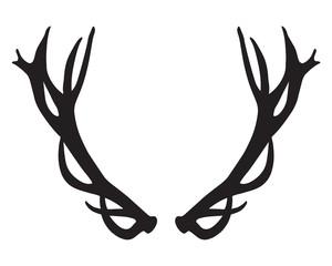 black silhouette of deer antlers