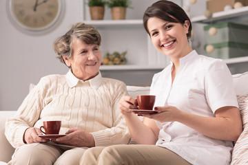 Caregiver and senior female