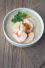 rice porridge with shrimp on jute,vintage tone, Thai Food, Thai