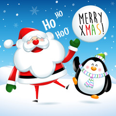 Merry Xmas, Santa Claus and penguin jumps in Christmas