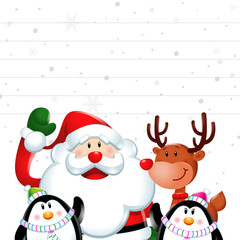 Christmas sign, Santa claus and friends in white background