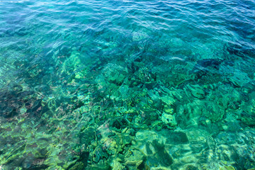 Water surface, with the reflection of sunlight on the top and bottom of the underwater world