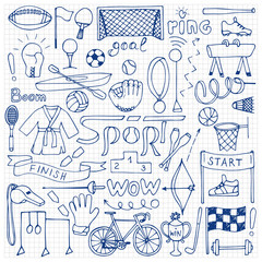 Hand drawn Sport equipment set on squared paper