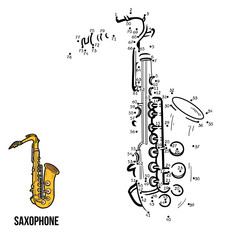 Numbers game for children: musical instruments (saxophone)