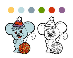Coloring book: Christmas winter mouse. Game for children