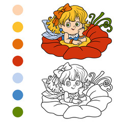 Coloring book for children: little fairy