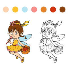 Coloring book (little fairy with a basket of fruit)