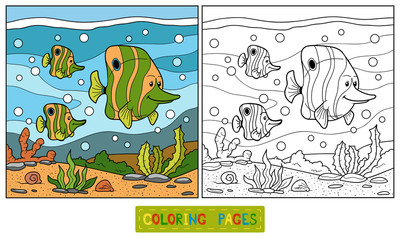 Coloring book (fish family)