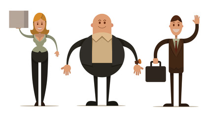 Vector cartoon image of three business people: a woman with blond hair, bald fat man in a black suit and man with brown hair on a light background. Drawn in a flat style.