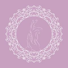 Female  hands in the flower frame for yoga studios